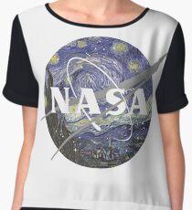 Starry Night Nasa Logo Chiffon Top