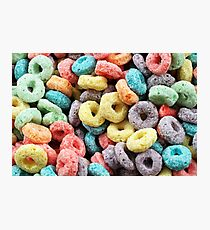 A macro image of fruit flavored breakfast cereal Photographic Print