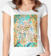 Cherry blossom  on  blue sky Women's Fitted Scoop T-Shirt