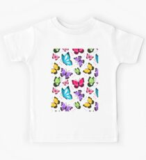 Colorful Pattern With Flat Futterflies Flying Kids Tee