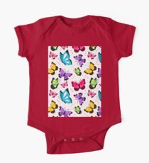 Colorful Pattern With Flat Futterflies Flying One Piece - Short Sleeve