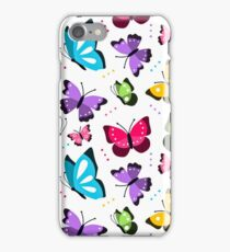 Colorful Pattern With Flat Futterflies Flying iPhone Case/Skin