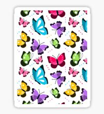 Colorful Pattern With Flat Futterflies Flying Sticker
