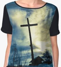 Dark cross over blue sky Women's Chiffon Top