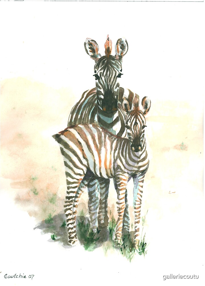 zebra mother and child - watercolor by galleriecoutu