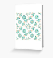 Abstract pattern with blue and orange helix and flowers Greeting Card