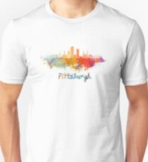 Pittsburgh V2 skyline in watercolor Unisex T-Shirt