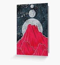 The Three Moons Over The Mountain Greeting Card