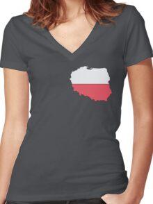Poland Women's Fitted V-Neck T-Shirt