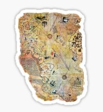captain piri reis historical old world map Sticker