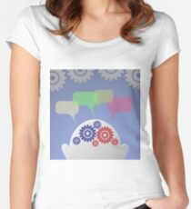 businessman and speech bubble Women's Fitted Scoop T-Shirt