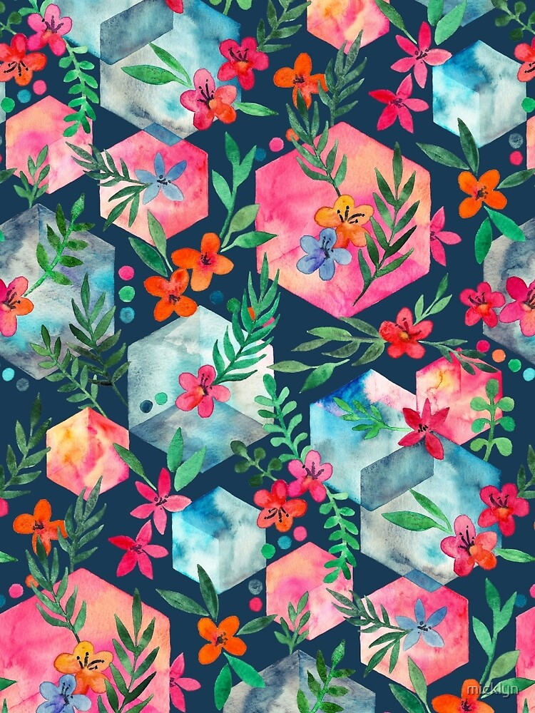 Whimsical Hexagon Garden on Blue by micklyn