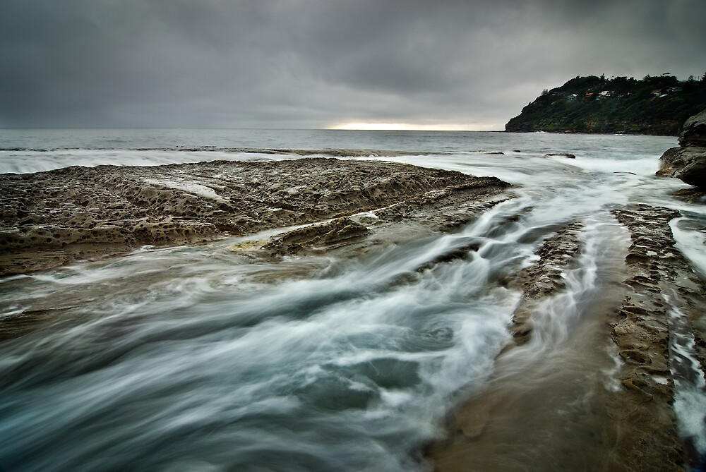 Waves Swirling at Whale Beach Rocks by Brent Pearson