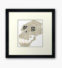 retro cartoon ancient skull Framed Print