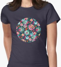 Whimsical Hexagon Garden on Blue Womens Fitted T-Shirt