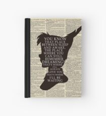 Peter Pan Over Vintage Dictionary Page - That Place Hardcover Journal