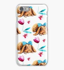 Bunny Pattern With Bow Watercolor Flowers iPhone Case/Skin