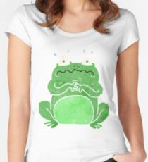 retro cartoon funny frog Women's Fitted Scoop T-Shirt