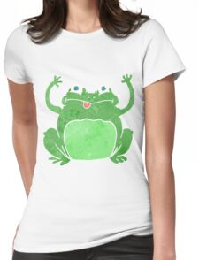retro cartoon funny frog Womens Fitted T-Shirt