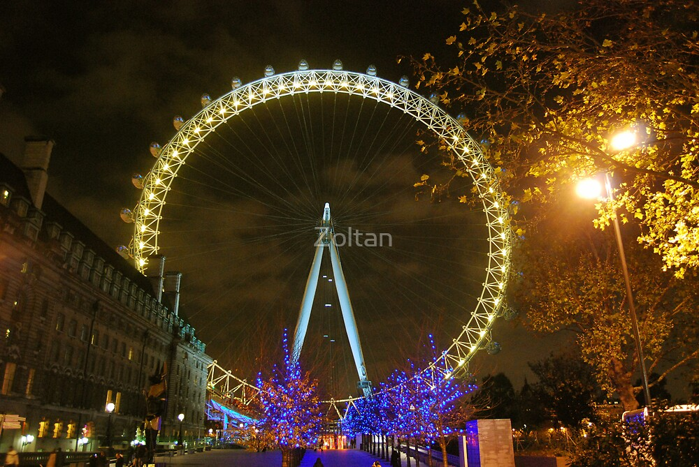 The London Eye at night by Zoltan