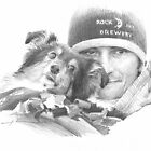 sheltie & owner under blanket drawing by Mike Theuer