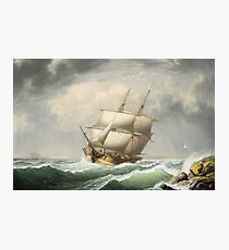 Fitz Henry Lane - Brig Off The Maine Coast (1851) Photographic Print