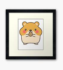 Cute Hamster Emoji Blush Sweet Eyes Framed Print