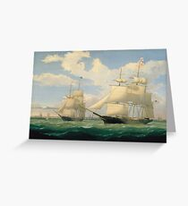 Fitz Henry Lane - The Ships Winged Arrow And Southern Cross In Boston Harbor 1853 Greeting Card