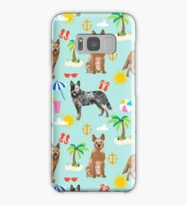 Australian Cattle Dog beach tropical pet friendly dog breed dog pattern art by PetFriendly Samsung Galaxy Case/Skin