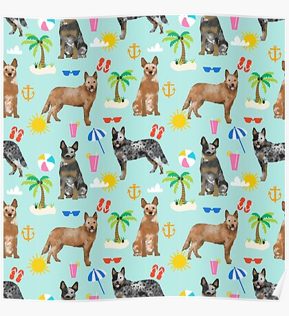 Australian Cattle Dog beach tropical pet friendly dog breed dog pattern art by PetFriendly Poster
