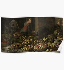 Floris Claesz. Van Dijck - Still Life With Fruit And Vegetables, With Christ At Emmaus In The Background Poster