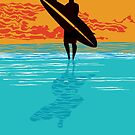 Surfer silhouette by Zsuzsa Goodyer