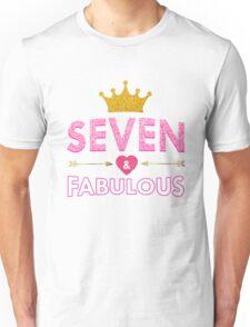 Cute 7th Birthday For Girls Princess Crown Seven Unisex T-Shirt