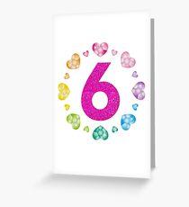 6th Birthday For Girls Shiny Hearts Princess Six Greeting Card