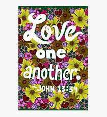 Love One Another, John Bible Verse, Lettering, Flowers And Hearts Doodle, Inspirational Photographic Print