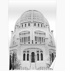 Bahai Temple Black and White 1 Poster