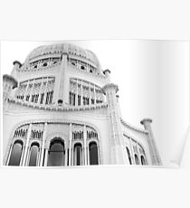 Bahai Temple Black and White 3 Poster