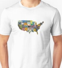 USA vintage license plates map Unisex T-Shirt