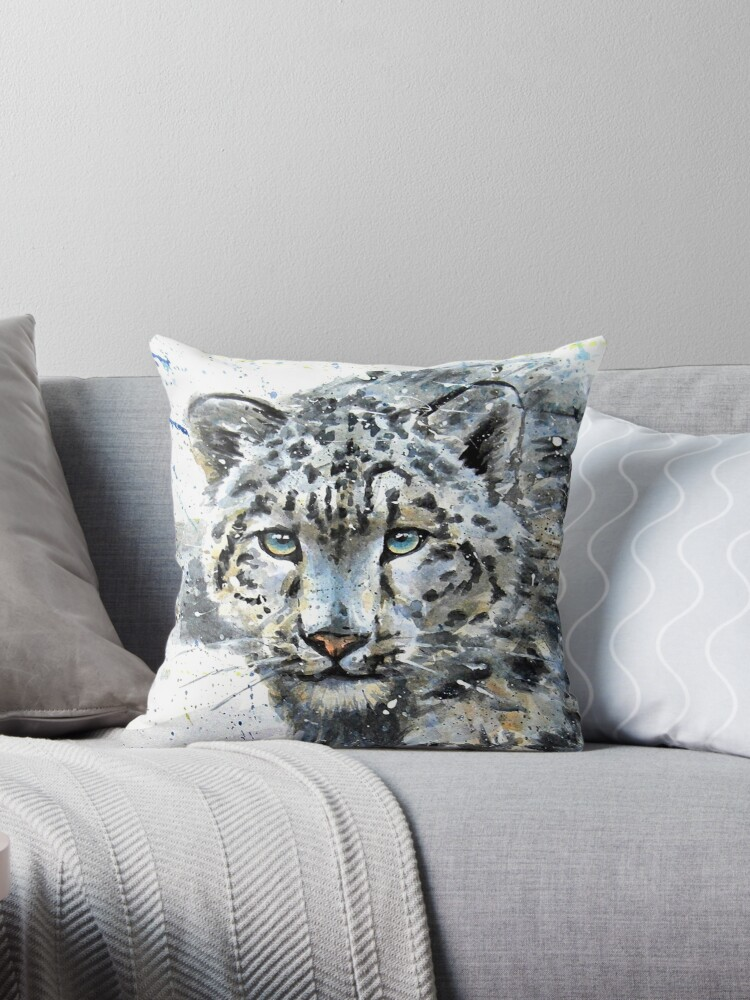 Snow Leopard Watercolor Throw Pillows By Kostart Redbubble