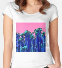 Cartoon Summer Cacti In The Pink  Women's Fitted Scoop T-Shirt
