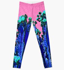 Cartoon Summer Cacti In The Pink  Leggings