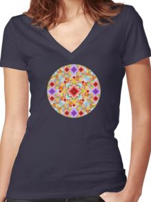 Rainbow Harlequin Women's Fitted V-Neck T-Shirt