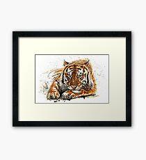 Lámina enmarcada Acuarela de tigre