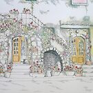 Maria's Home pen and coloured pencil by Sue Nichol