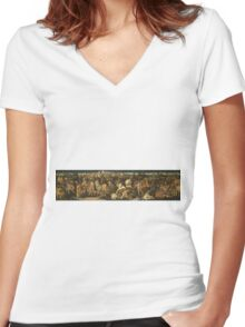 Francesco Pesellino - The Story Of David And Goliath Women's Fitted V-Neck T-Shirt