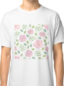 Lovely pink rose and green leaves watercolour patten Classic T-Shirt