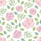 Lovely pink rose and green leaves watercolour pattern by Sandra O'Connor