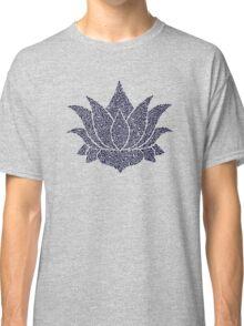 Dark Blue Lotus Doodle Classic T-Shirt