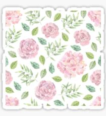 Lovely pink rose and green leaves watercolour pattern Sticker