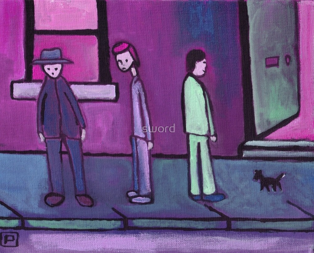 3 Men and a cat (from my original acrylic painting) digitally enhanced) by sword